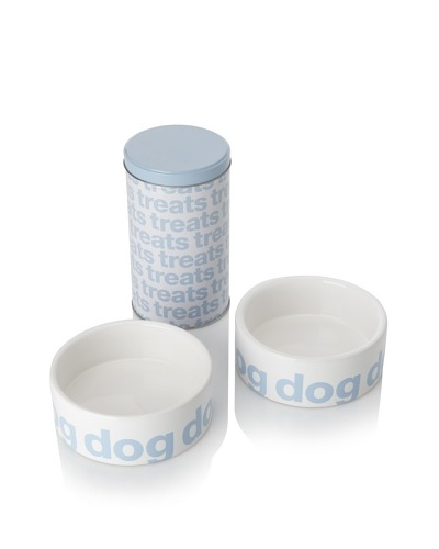 Harry Barker Set of 2 Helvetica Food Bowls with Treat Tin