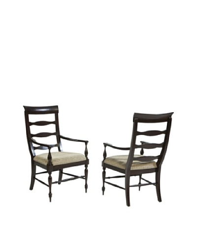 Panama Jack Old Havana Set of 2 Slatted Back Arm Chairs