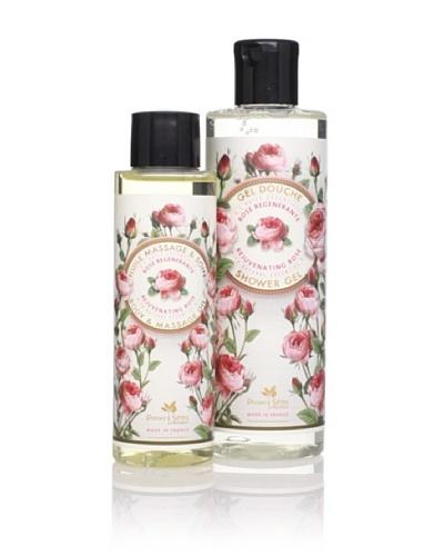 Panier des Sens Rejuvenating Rose Shower Gel & Massage Oil, Set of 2