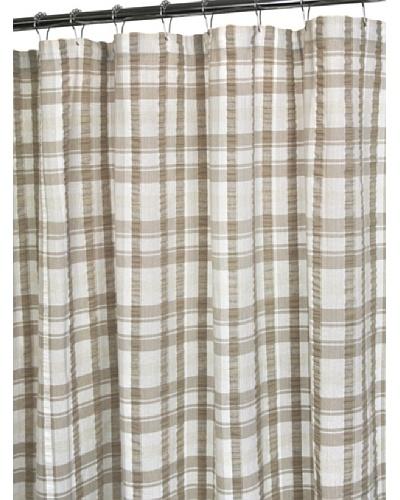 Park B. Smith Seersucker Plaid Shower Curtain, White/Linen/Natural, 72 x 72