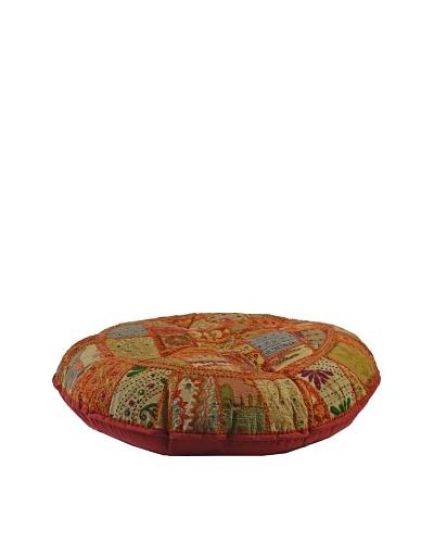 Melange Home Large Round Pouf, Masala Chai