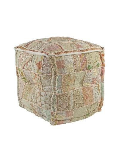 Melange Home Cube Pouf, Cream Sari