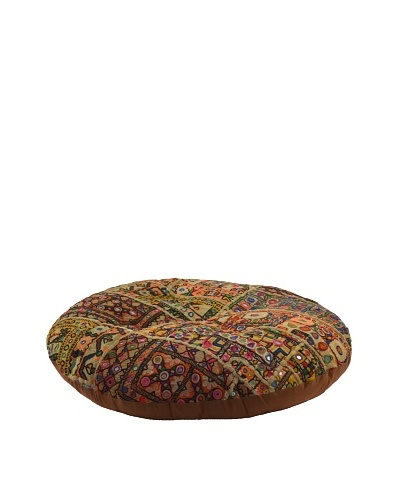 Melange Home Large Round Pouf, Old Jati