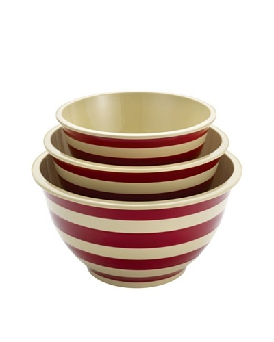 Paula Deen Signature Pantryware 3-Piece Melamine Mixing Bowl Set, Red Stripe