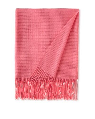 Pür by Pür Cashmere Wool/Cashmere-Blend Basketweave Throw, Super Pink, 50 x 65