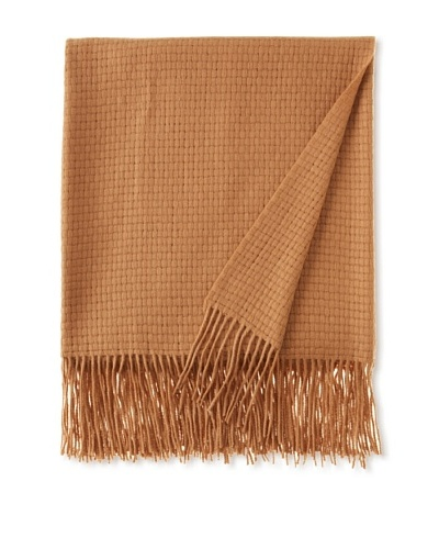 Pür by Pür Cashmere Wool/Cashmere-Blend Basketweave Throw, Camel, 50 x 65As You See