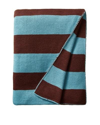 pür by pür cashmere Aqua/Chocolate Jacquard Stripe Throw