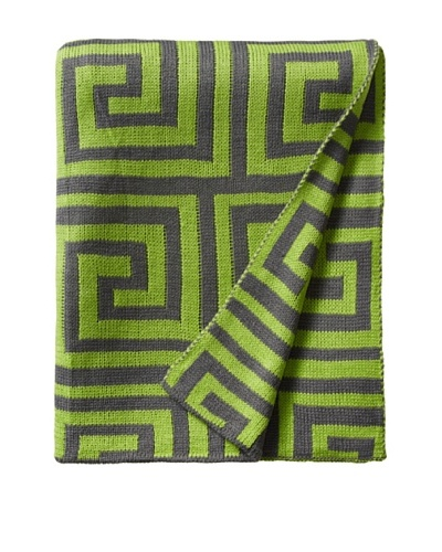 pür by pür cashmere Lime/Grey Jacquard Greek Key Throw