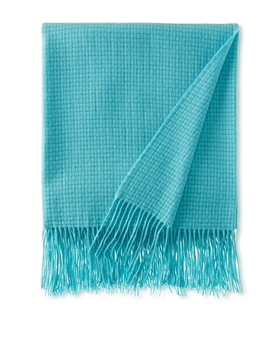 Pür by Pür Cashmere Wool/Cashmere-Blend Basketweave Throw, Turquoise, 50 x 65