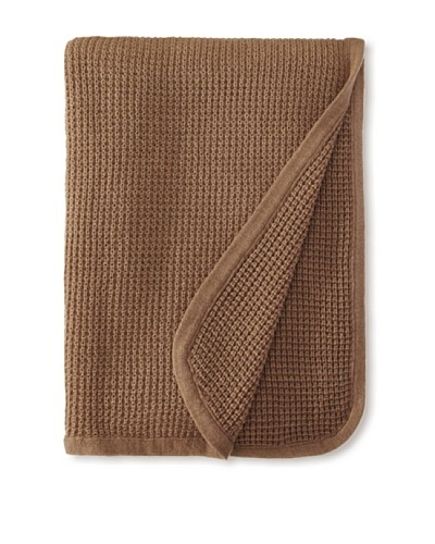 pür cashmere Thermal Knit Throw, Heather Mocha, 50 x 70