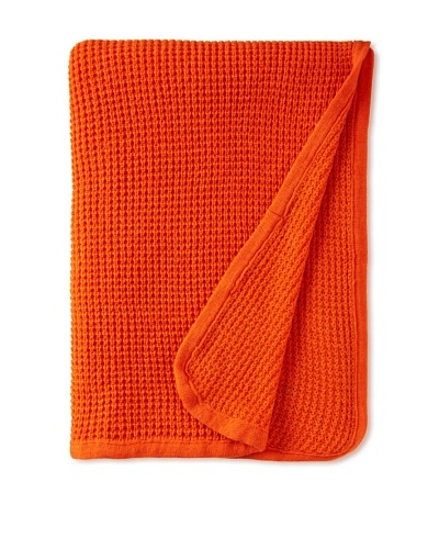 pür cashmere Thermal Knit Throw, Persimmon, 50 x 70