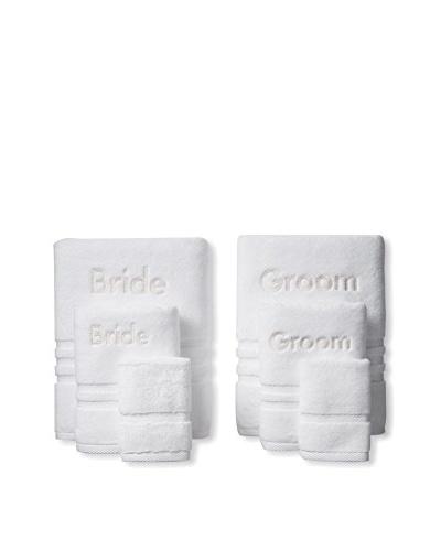 """Peacock Alley Naples """"Bride"""" & """"Groom"""" Monogrammed Towel Set, White"""