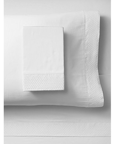 Peacock Alley Punchboard Queen Sheet Set, White