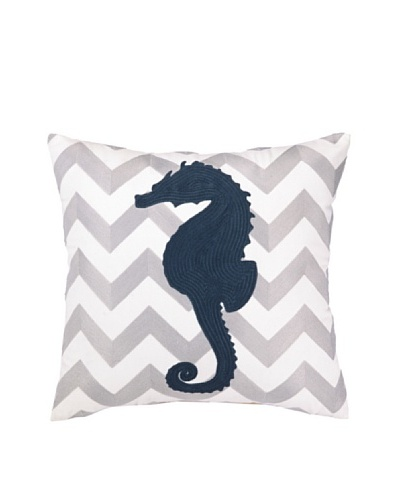 Peking Handicraft Seahorse Embroidered Chevron Pillow