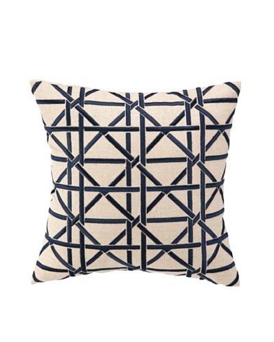 Peking Handicraft Cane Pillow, Navy