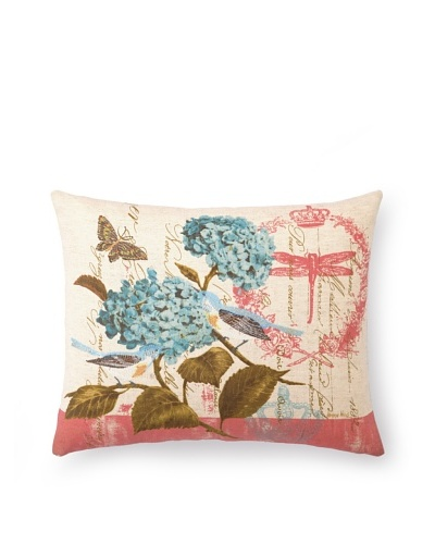 Peking Handicraft Floral with Birds on Salmon Pillow