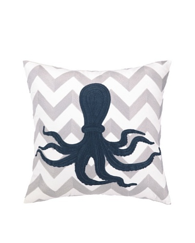 Peking Handicraft Octopus Embroidered Chevron Pillow