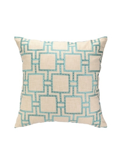 Peking Handicraft Dotted Line Pillow, Turquoise