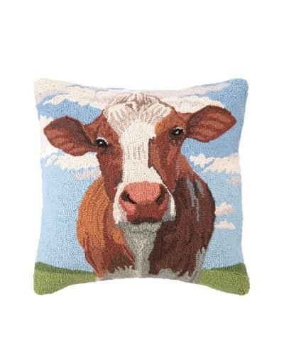 Peking Handicraft Hook Pillow, Cow Portrait, 18 x 18