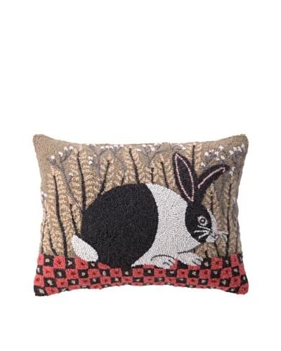 Peking Handicraft Hook Pillow, Checkerboard Bunny, 14 x 18