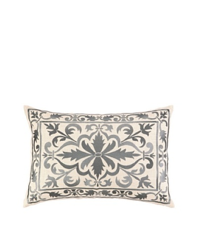 Peking Handicraft Buckingham Pillow, Grey
