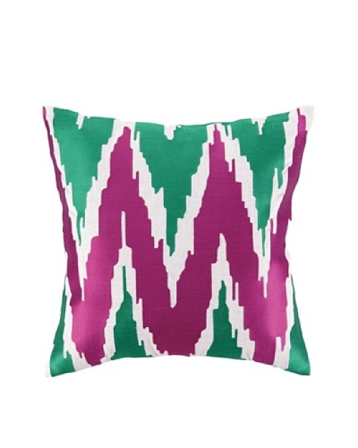 Peking Handicraft Sarah Pillow, Pink/Green