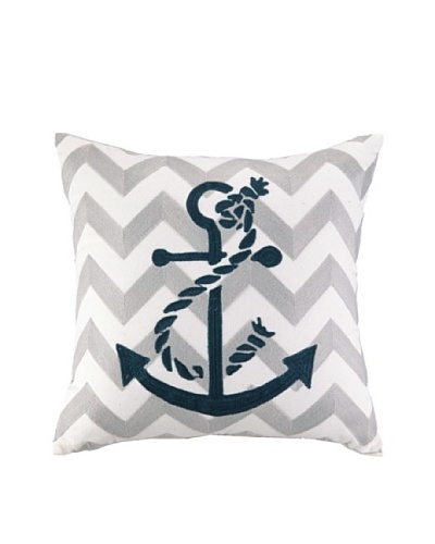 Peking Handicraft Anchor Embroidered Chevron Pillow