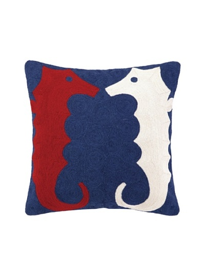 Peking Handicraft Seahorse Crewel Pillow