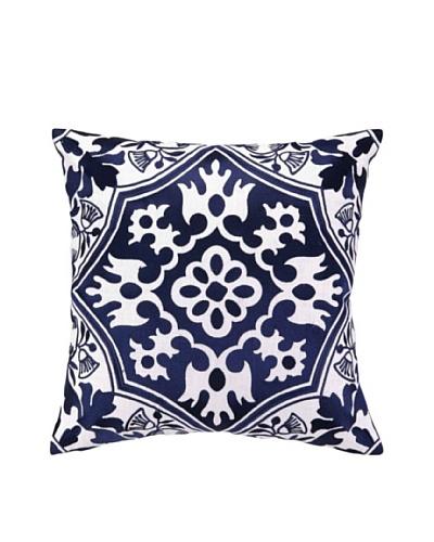 Peking Handicraft Flower Emblem Pillow, Navy