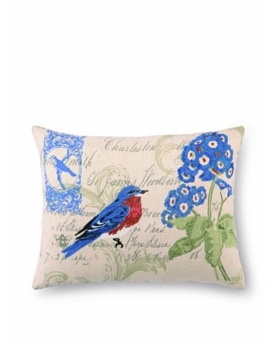 Peking Handicraft Bluebird & Geranium Pillow