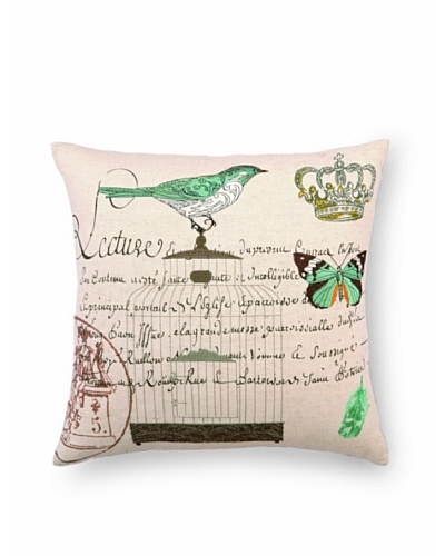 Peking Handicraft Lecture Pillow with Bird on Cage
