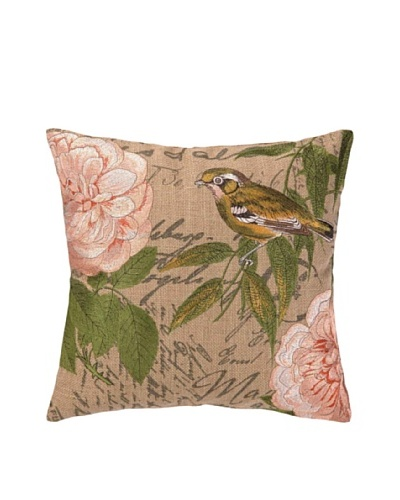 Peking Handicraft Left-Facing Song Bird Embroidered Pillow