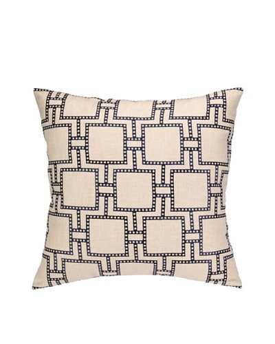 Peking Handicraft Dotted Line Pillow, Navy