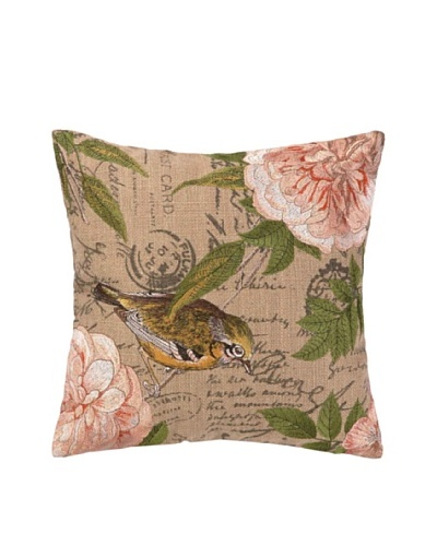 Peking Handicraft Right-Facing Song Bird Embroidered Pillow