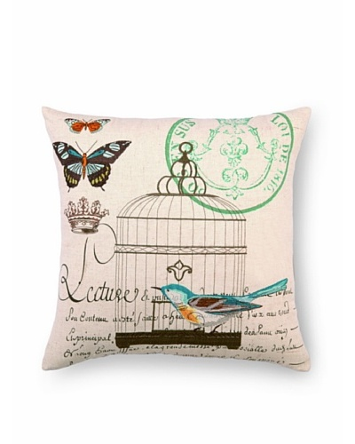 Peking Handicraft Lecture Pillow with Blue Bird
