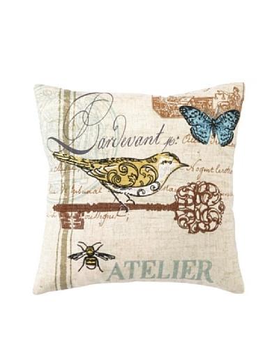Peking Handicraft Atelier Birds II Blue Pillow