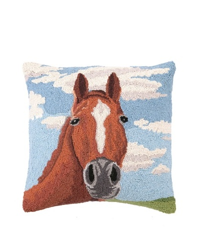 Peking Handicraft Hook Pillow, Horse Portrait, 18 x 18