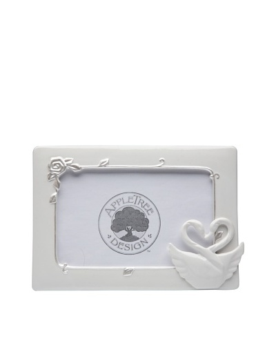 "Perfect Wedding Swan Couple Porcelain Frame, 3"" x 5"""