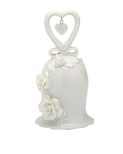 Perfect Wedding Rose & Heart Porcelain Bell