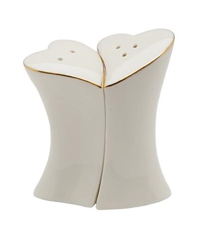 Perfect Wedding Jade Hearts Porcelain Salt & Pepper Shaker Set