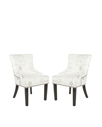 Safavieh Mercer Collection Set of 2 Lotus Side Chairs, White/Grey