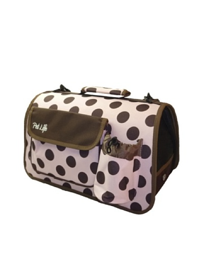 Pet Life Airline-Approved Polka-Dot Zippered Pet Carrier, Pink/Brown, Medium