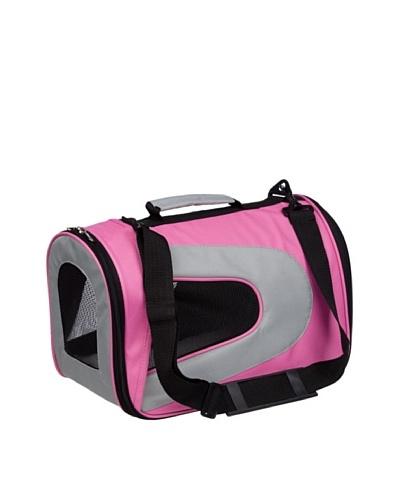 Pet Life Folding Zippered Sporty Nylon Canvas Dog Carrier, Pink/White, Medium