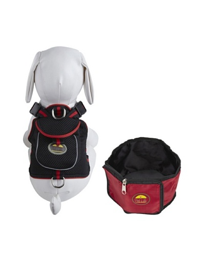 Pet Life Harness and Wallet Travel Bowl Set [Black/Red]