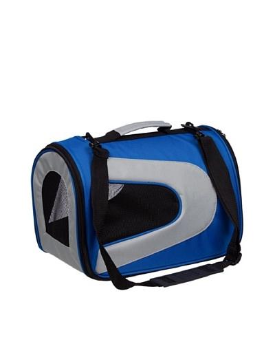 Pet Life Folding Zippered Sporty Nylon Canvas Dog Carrier, Blue/Gray, Medium
