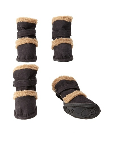 Pet Life Shearling Duggz Dog Shoes [Black/Beige]
