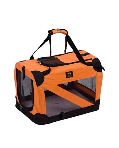 Pet Life 360 Vista View Soft Folding Metal Frame Pet Crate [Orange]