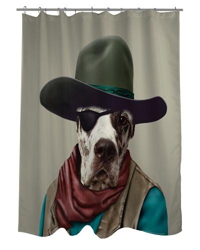 """Pets Rock """"Cowboy"""" Shower Curtain"""