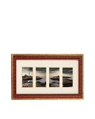 Philip Whitney 4-Opening Burgundy Gold Leaf Collage Frame