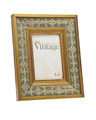 Philip Whitney Vintage Green/Gold 4x6 Frame